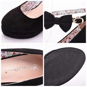 Image 5 - Nero rosso Elegante cunei dei pattini dei cunei sandali per le donne della piattaforma degli alti talloni punta rotonda scarpe tacchi alti bowknot zeppe scarpe