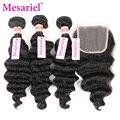 Бразильский Девственные Волосы Свободная Волна 3 Расслоения С Закрытие Человеческие Волосы 7а Бразильского Виргинские Рыхлый Глубокий Волосы Бразильский Закрытие