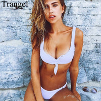 Trangel Brand Bikini Sexy Swimwear Women Solid Color Bikini Set Vneck Swimsuit Adjustable Bottom Sport Wear