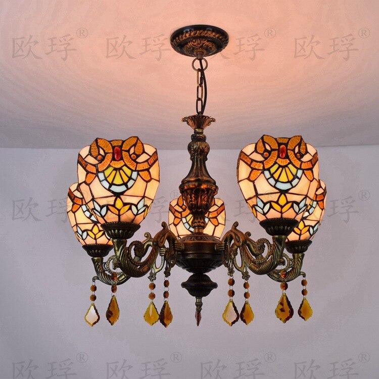 Işıklar ve Aydınlatma'ten Kolye ışıkları'de Avrupa Barok 5 kafaları yemek odası yatak odası kristal lambalar Tiffany vitray Restoran Kolye Işıkları 110 240 V E27 title=