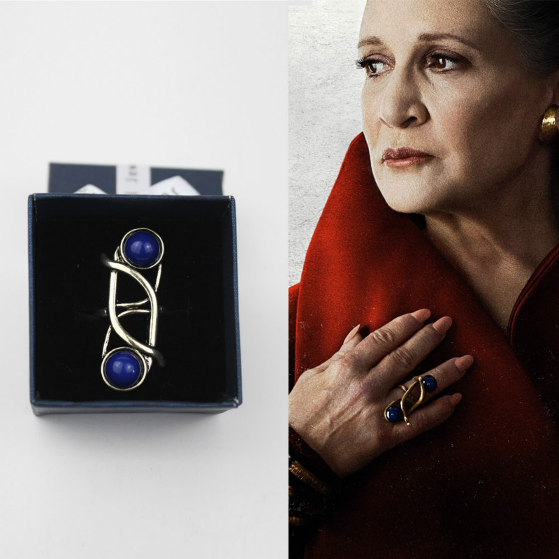 Star Wars The Last Jedi Leia Princess Ring Cosplay Chrismas Gift For Woman Blue Vintage With Sapphire Female Rings