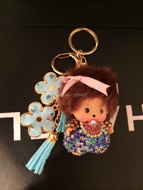 bling women bag charms colorfur crystals doll and flower bling key chains glitter wallet purse charms handmade charms  key chain