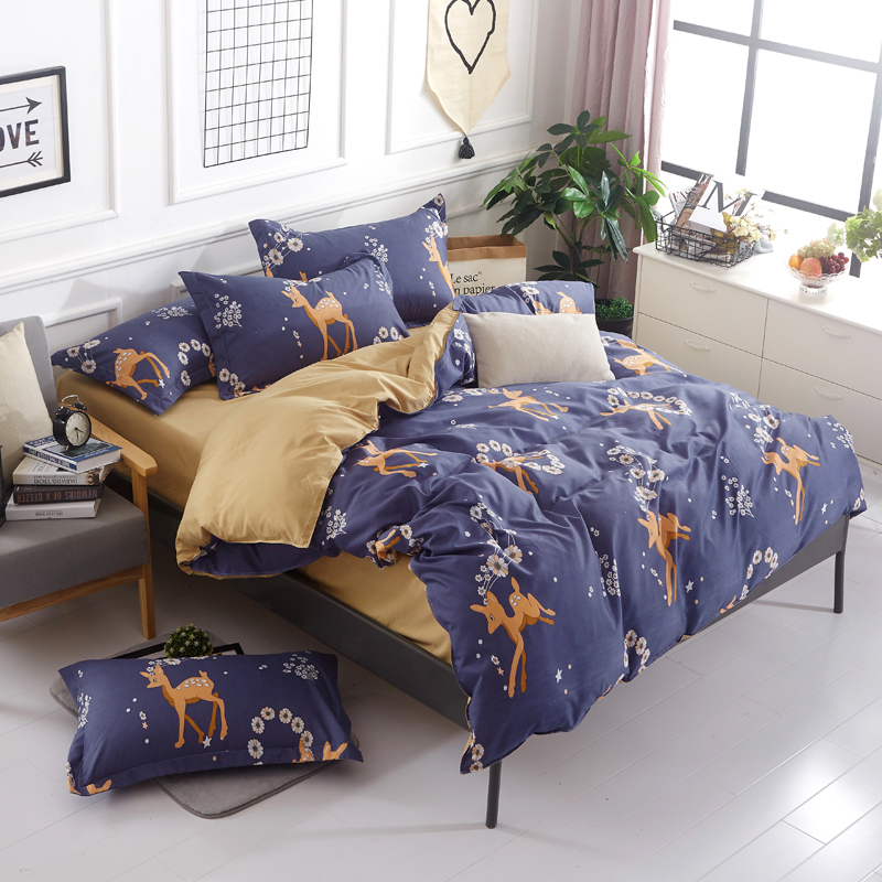 Deer Flower Printed Bedding Sets Bedclothes Cotton Duvet Cover Set Pillowcases Bed Linens Flat Sheets Gifts for Home DecorDeer Flower Printed Bedding Sets Bedclothes Cotton Duvet Cover Set Pillowcases Bed Linens Flat Sheets Gifts for Home Decor
