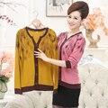 Новый высокое качество мода Осень женщины футболка леди длинным рукавом v-образным вырезом Павлин тонкий пуловер мать плюс размер clothing