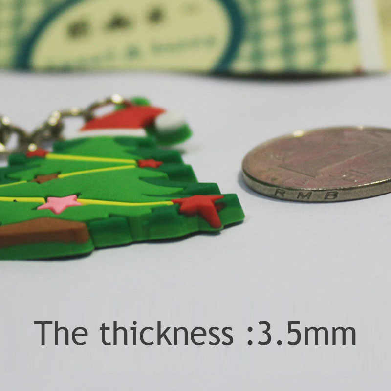 10PCs Key Chains Lovely Christmas Series Key Ring Santa Claus Key Jewelry Comfoetable PVC Gift For Women Men Decoration