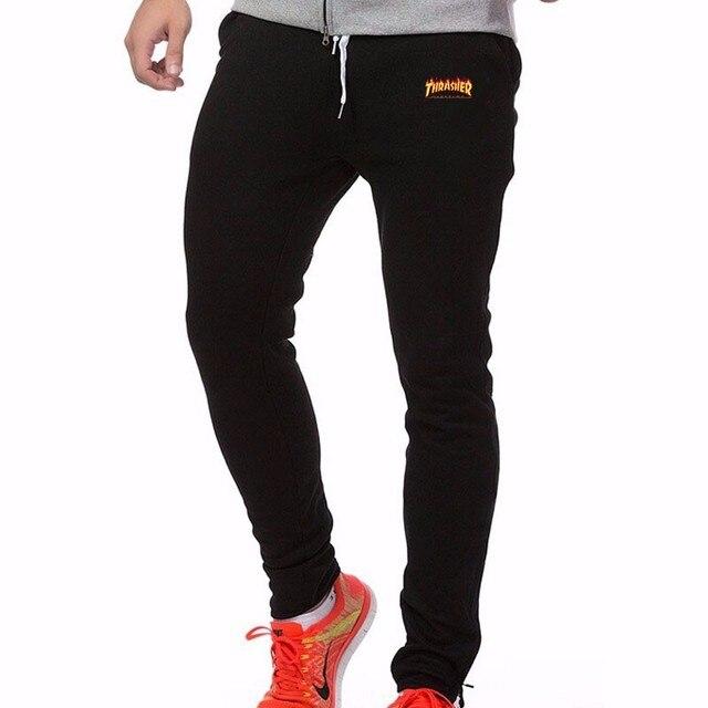 2016 flame Trasher skateboards Streetwear Bodybuilding printed sweatpants for men thrasher sweat pants mens hip hop joggers Pant