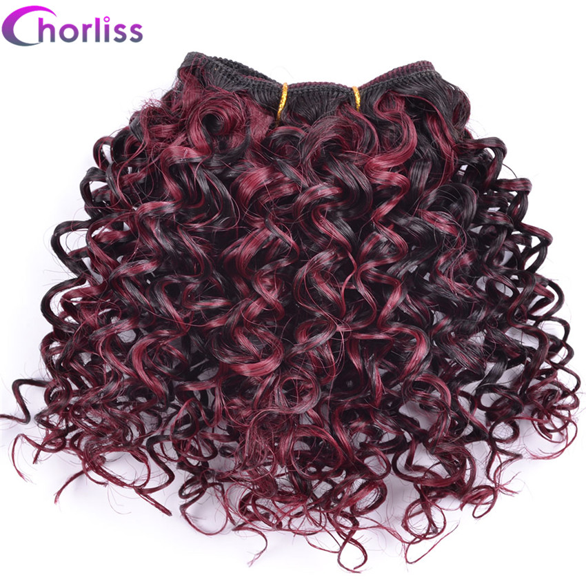 "Chorliss 8"" Afro Kinky Curly Hair Weaving Ombre Burgundy Weave Synthetic Hair Extensions Crochet Hair Weft 105g/lot 3pcs/lot"