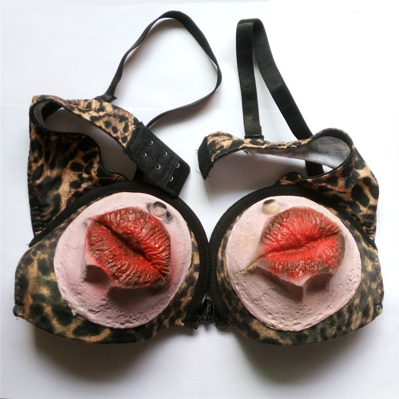 Novelty gadget Funny Leopard bra Red Mouth Halloween funny dirty jokes toys prank supplies props gag products novelty items