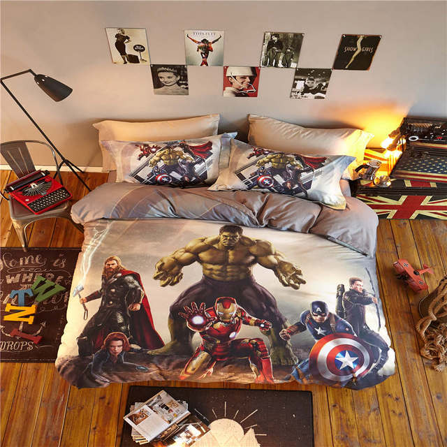 cartoon home textile disney bed linen 4pc teen egyptian cotton bed sets twin size 3D marvel team heroes comforter cover sets boy