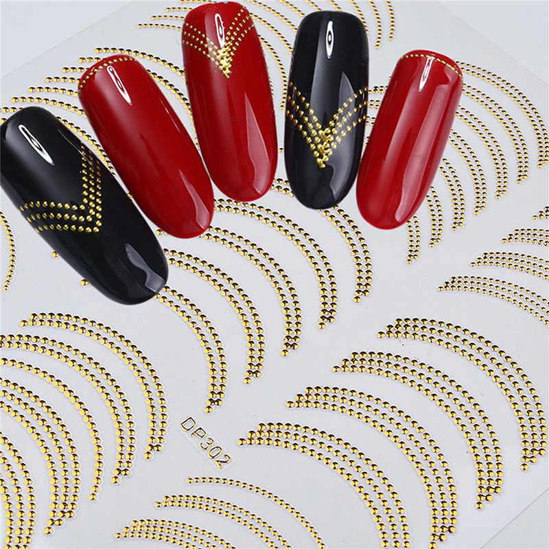2019 Venta caliente 3D clavo Stiker oro plata 3D cinta para decoración de uñas cinta de tira de Metal Multi-tamaño manicura de Arte de uñas 3D