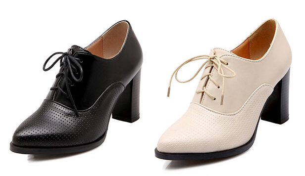 New Womens Fashion Chunky Heel Pointed