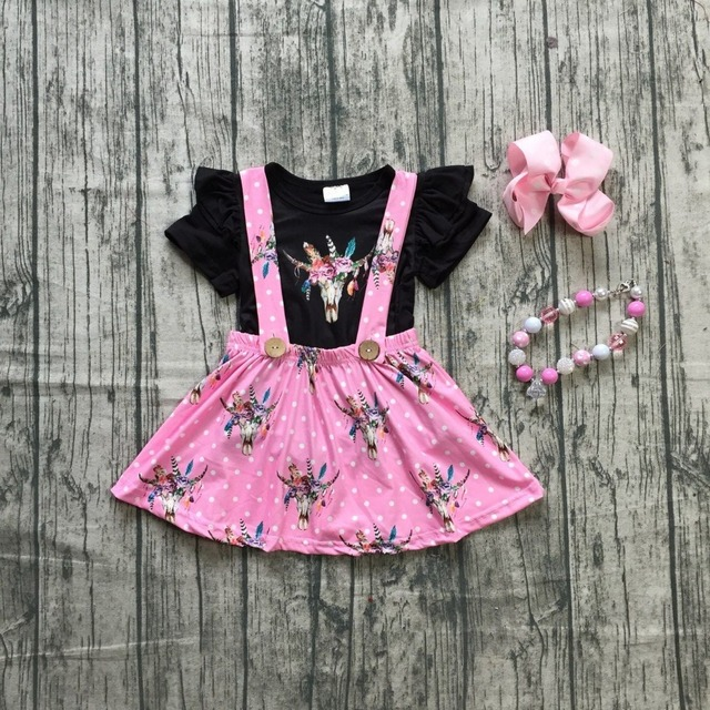 4203823aaa271 US $13.99 |summer baby girls children clothes SUSPENDER SKIRT SET pink cow  floral ruffles cotton milk silk knee length match accessories-in Clothing  ...