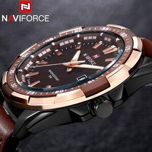 Image 3 - NAVIFORCE كرونوغراف أفضل بريندز الرجال الكلاسيكية ساعة مستديرة ساعة مزدوجة الرجال relojes hombre 2019 relogio masculino