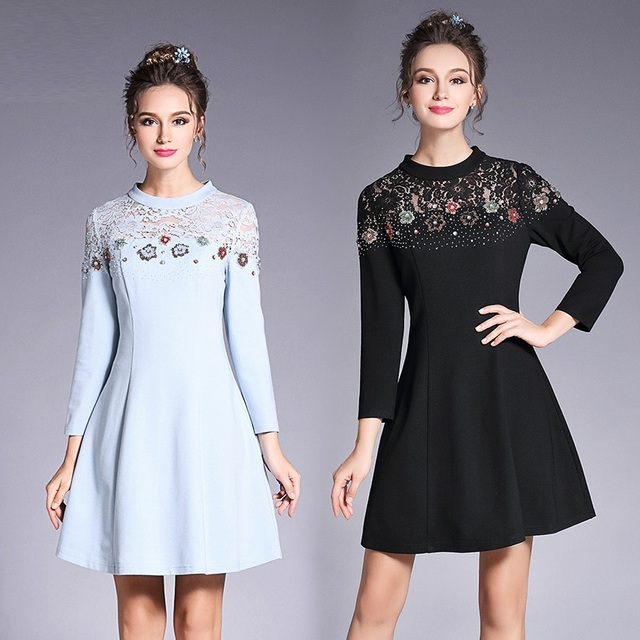 L 5xl European Style Plus Size Floral Crystals Beaded Dress High