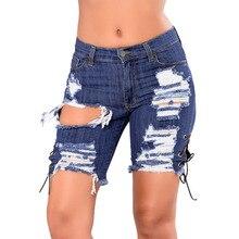 купить!  Новые Летние Повседневные Джинсовые Брюки Женщины Плюс Размер Высокой Талией брюки отверстие джинс�
