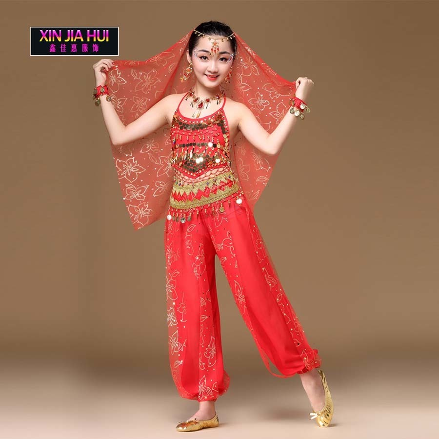 Sari indien Filles Ensemble Orientale Enfant Pour Enfants Oriental costumes de danse Du Ventre Danseur Vêtements recadrée chinois marché en ligne
