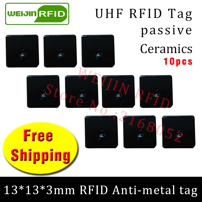 UHF RFID anti metal tag 915mhz 868mhz Alien Higgs3 EPC 10pcs free shipping 13*13*3mm small square Ceramics passive RFID tags 2016 trays management anti metal epc gen2 alien h3 uhf rfid tag 50pcs lot