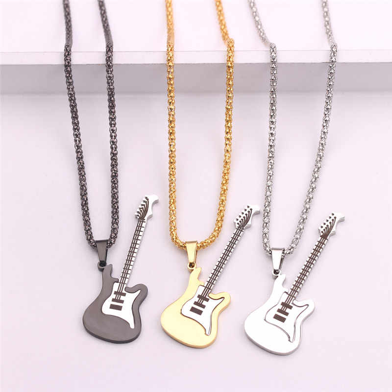 New Guitar Necklace For Men Women Music Lover Gift Black Gold Color  Pendant & Chain Hip Hop Rock Jewelry
