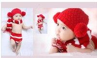 Koop Xmas Stijl Hoed Korte Handgemaakte Fotografie Props Knit Pasgeboren Baby Dier Kostuum Gebreide Baby Mutsen Haak Kinderen