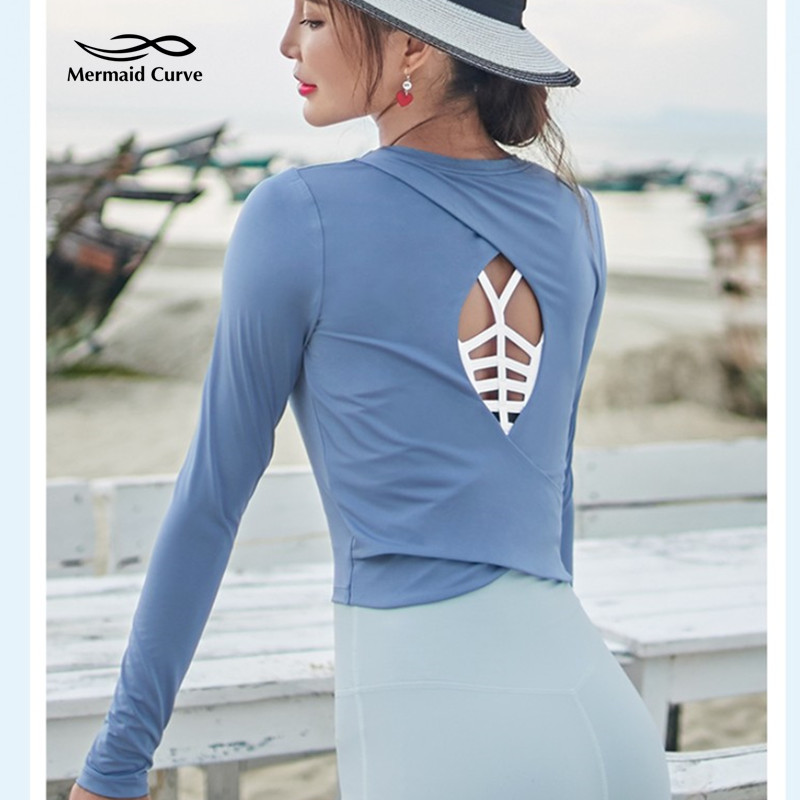 e070d3c7be4a1 2018 Autumn New Fitness Shirts Women Gym Crop Tops Sexy Back Hollow Yoga  Shirts Long Sleeve Workout Running Sport T Shirt-in Yoga Shirts from Sports  ...