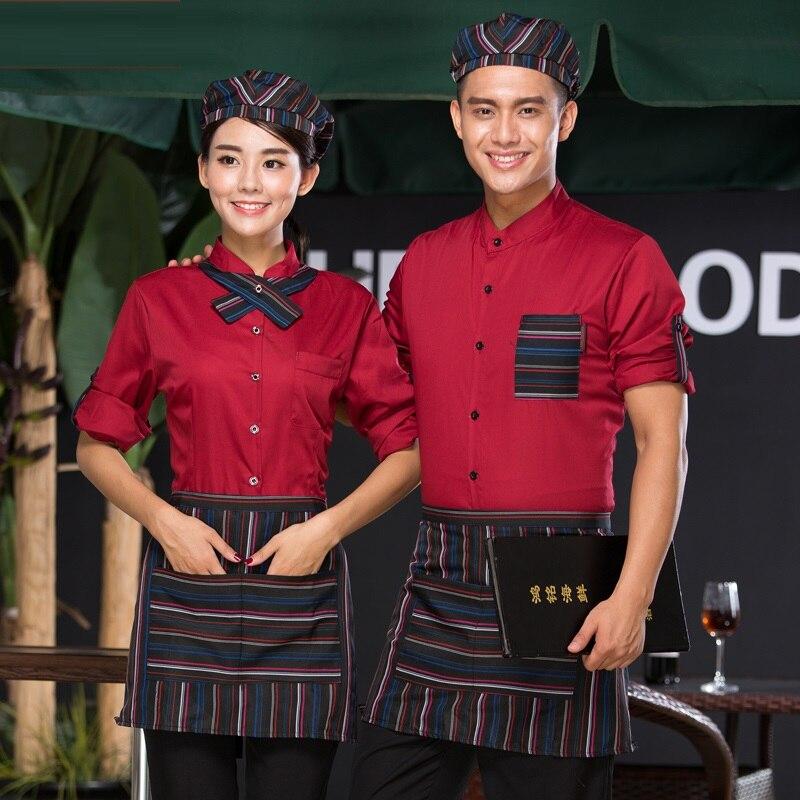 (10 Set-hoed & Shirt & Schort & Tie) Koffie Overalls Westerse Restaurant Werkkleding Hotpot Restaurant Ober Lange Mouwen Kleding Aantrekkelijk En Duurzaam