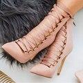 Qualidade da moda Sapatos De Salto Alto Rebite das Mulheres fivela Sandálias de Génova Sandália Stiletto Ankle Boots Lace Up Bombas Sapatas das Mulheres rosa preto