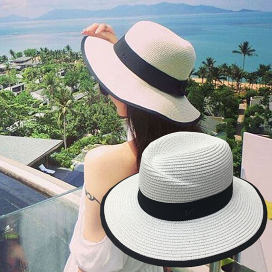 474ffe414a6 LNPBD 2017 hot New Elegant Black Jazz Hats For Women White Sun Hat Men  Formal Blue Summer Beach Cap Letter M Fedora Straw Hat-in Sun Hats from  Apparel ...