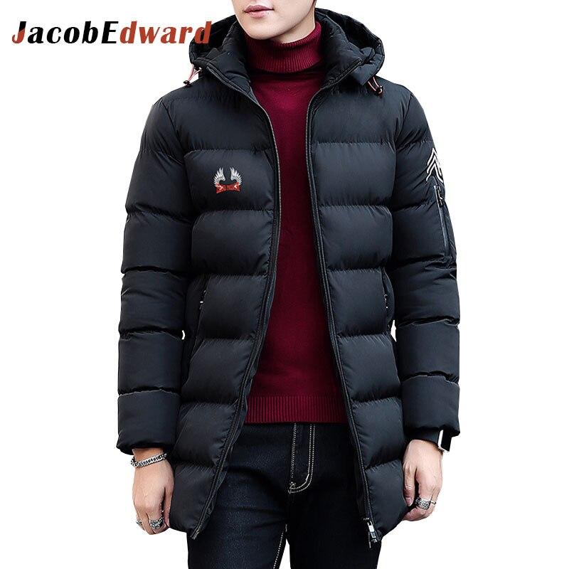 Black Mens Jackets And Coats Winter New Arrival Mens Long Parka Coat 100% Polyester Men Jackets Coats 2017 New Arrival  Parka