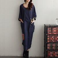 Vestidos Casual Dress 2016 Spring Autumn Women Dresses Women Vintage Printed Long Sleeve Loose Brand Maxi Linen Dress Robe