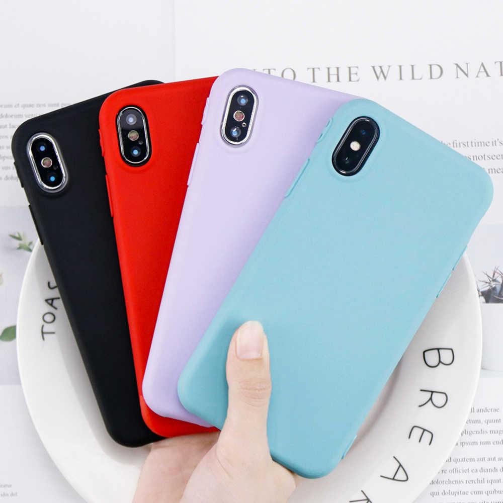 Iphone 6 6 S 7 8 プラス × 10 6 ケースキャンディーカラー TPU 用 iPhone 7 マットつや消しソフトカバー保護ケース