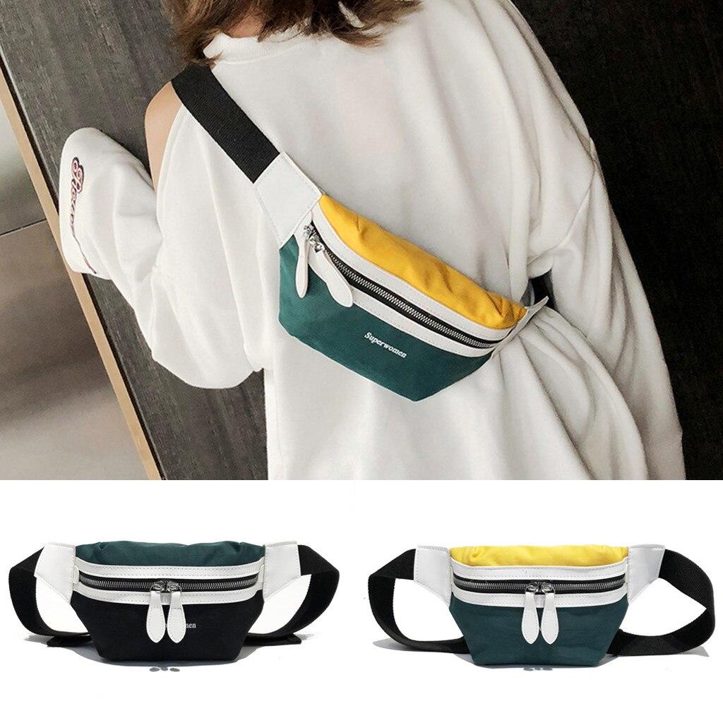 Women's Fashion Canvas Letter Shoulder Messenger Crossbody Chest Bags Packs Running Pockets Beach  With Zipper