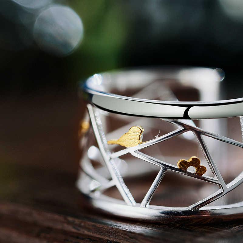 Lotus สนุกจริง 925 เงินสเตอร์ลิงแหวนเปิดเครื่องประดับ Oriental องค์ประกอบตกแต่งหน้าต่างตัดกระดาษออกแบบแหวนสำหรับผู้หญิง