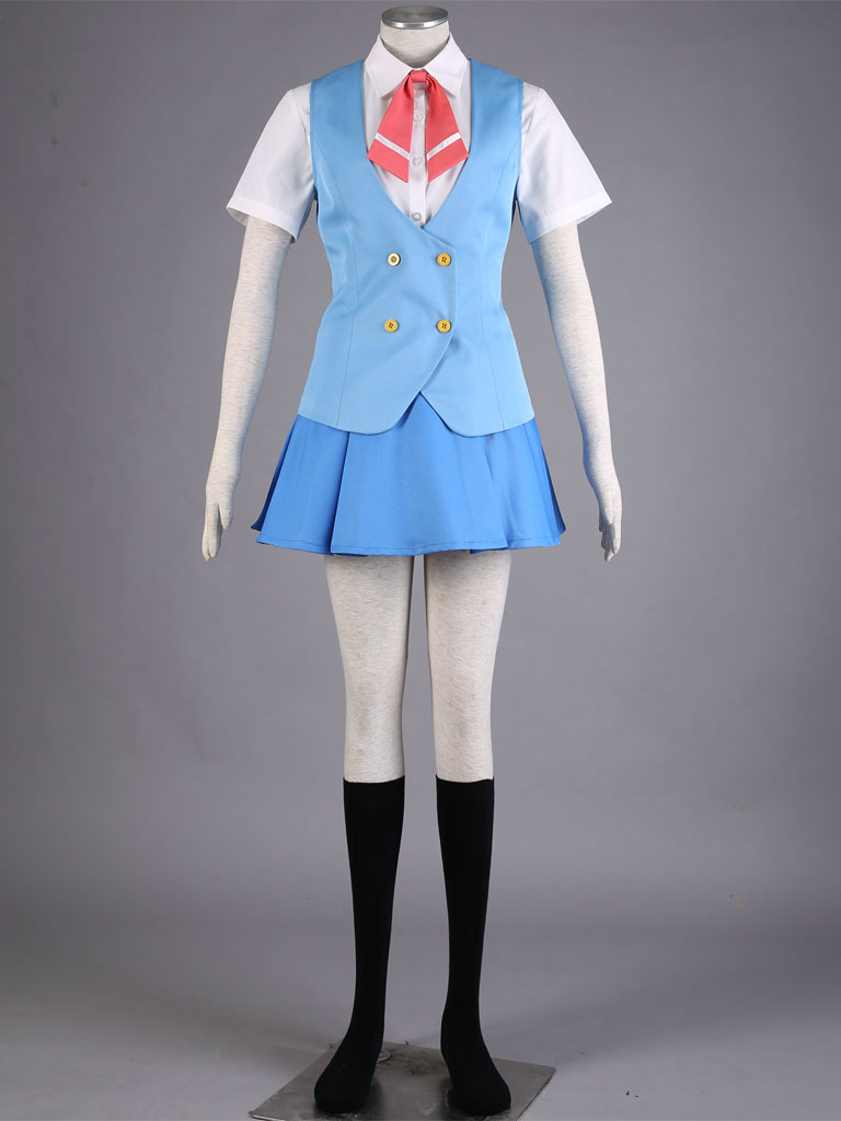 font b Anime b font Acchi Kocchi Miniwa Tsumiki White Blue School uniform dress font