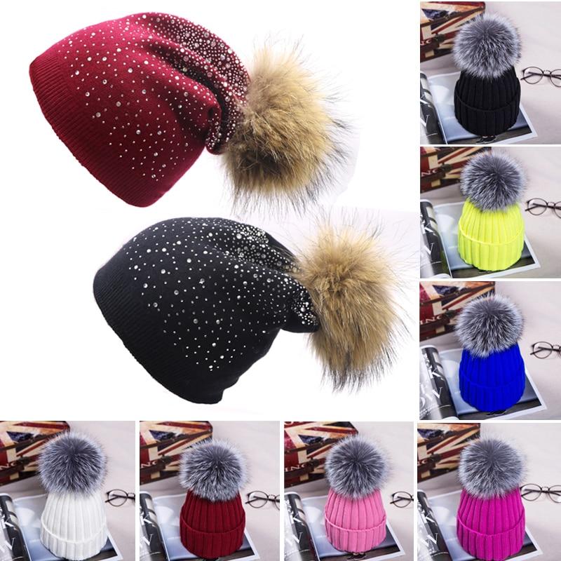 Fashion Fur Pompom Winter Hats for Women Wool Warm Crochet Knitted Hat Solid Color Thicker   Skullies     Beanie   Hats Female Twist Cap