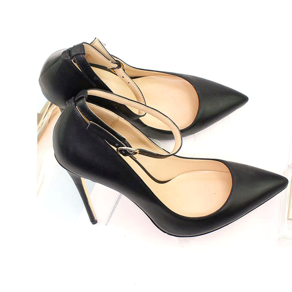 Aimirlly Women's Shoes Pointed Toe High Heels Pumps Ankle Strap Party Clubwear ladies shoes Black Navy Blue female shoe-in Women's Pumps from Shoes    2