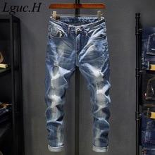 Lguc.H Jeans Lavati Uomini 2020 Vintage Distressed Jeans di Moda Maschile Streetwear Jeans Strappati per Gli Uomini Retro Casual Denim Jean 38 36