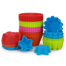 New 12/6PCS Random Color Silicone Muffins Mold Form For Kitc