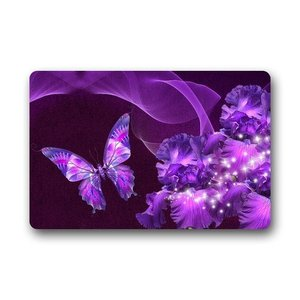 Mr. Six пользовательский машинный моющийся дверной коврик Фиолетовый Бабочка и цветок Коврик для двери коврик для улицы 23,6 дюйма X 15,7 дюйма
