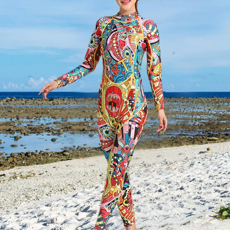 3mm Diving Suit Female Warm Surf Clothing Long-sleeved One-piece Sunscreen Ethnic Style Jellyfish Resistant Snorkeling Suit3mm Diving Suit Female Warm Surf Clothing Long-sleeved One-piece Sunscreen Ethnic Style Jellyfish Resistant Snorkeling Suit