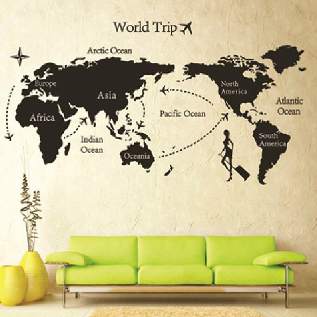 80140cm stylish 3d black world map wall sticker for room decoration 80140cm stylish 3d black world map wall sticker for room decoration removable wall pictures gumiabroncs Image collections