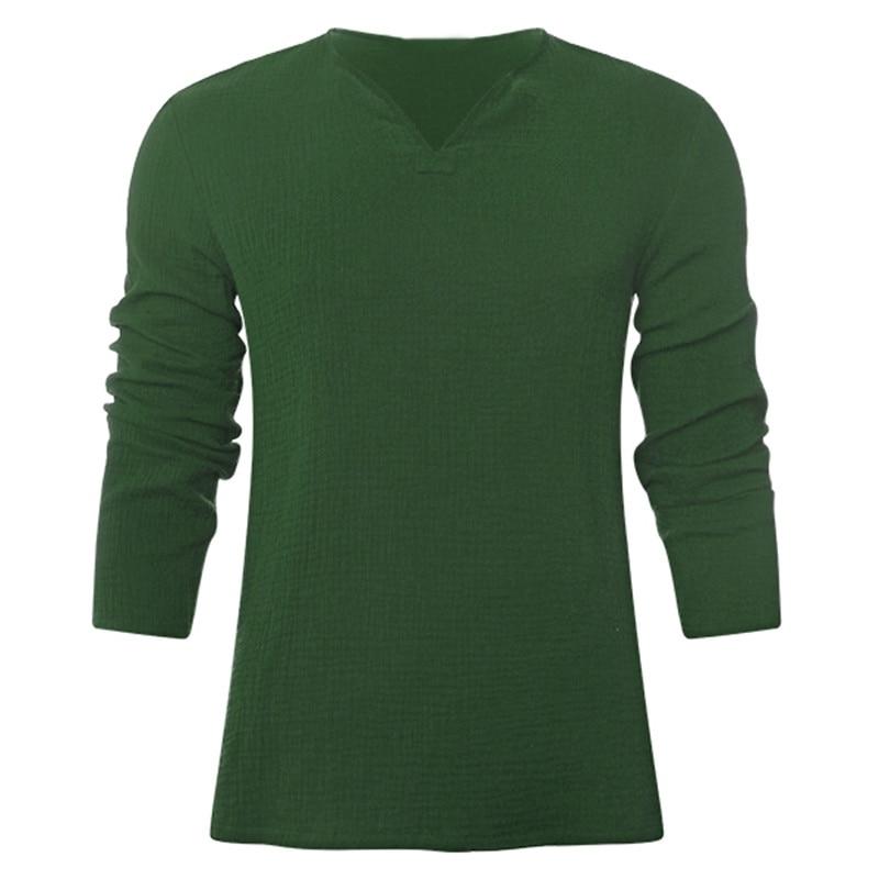 Retro Cotton Men's Shirts V Neck Long Sleeve Autumn Comfortable Men Tee Tops Casual Loose Clothing Male Plus Size 3XL