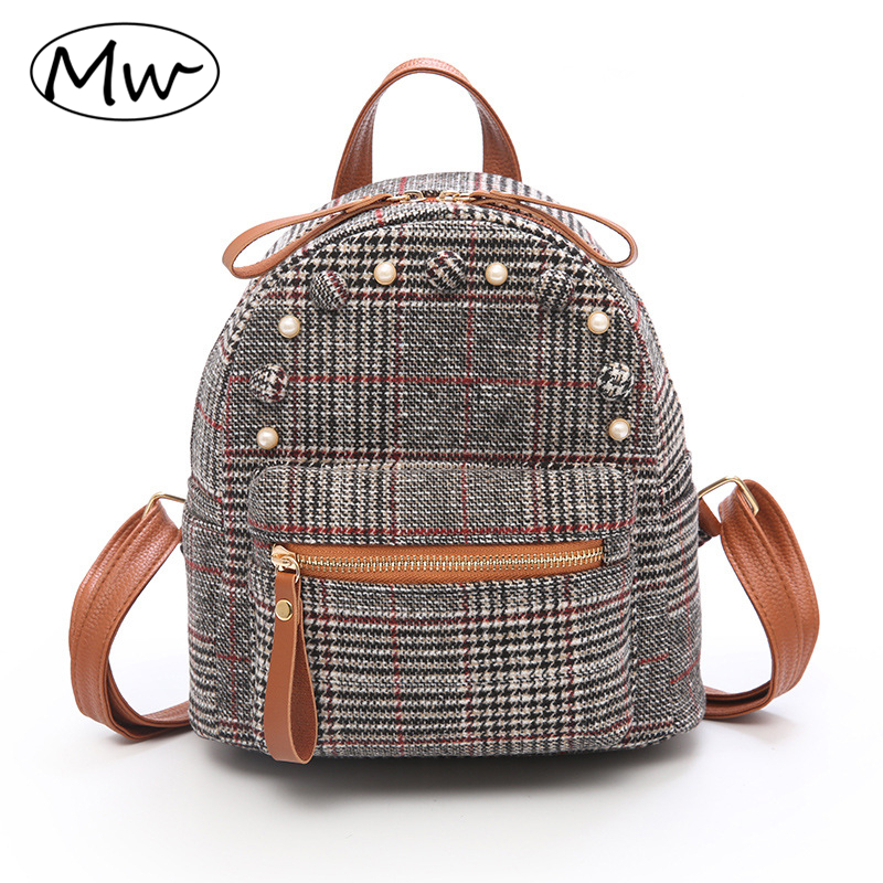 Moon Wood British Style Wool Plaid Backpack Women Fashion Vintage Small Backpack With Beaded Button Girls Daily Shoulder Bag sac moon flac style