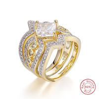 Luxury Princess cut White Cubic Zirconia 18k Gold over 925 Silver 3 Piece Multi Row Bridal Ring Set for women Court Jewelry