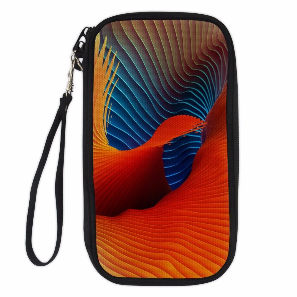 Noisydesigns Travel Passport Wallet Hand Holding Bag color grid vortex Multifunction Credit Card Package ID Holder Storage