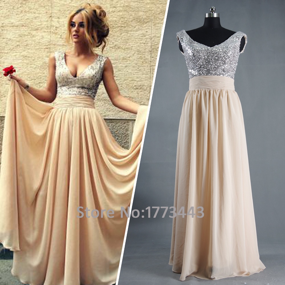In Stock Tank V Neck Champagne Sequin Long Prom Dresses For Special ...