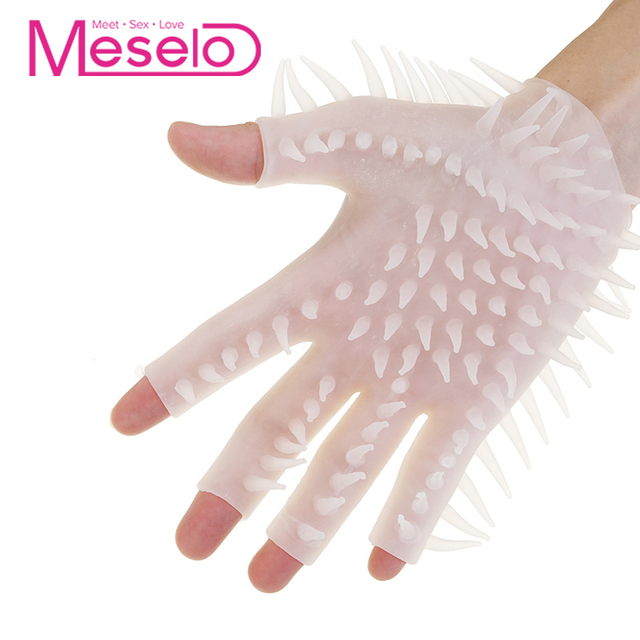 Meselo Male Masturbator Rubber Glove Soft Thorns Masturbator For Man Erotic  Finger Mitten Adult Sex Toys