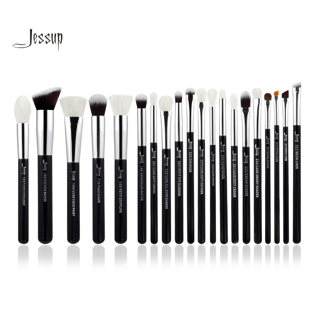 Jessup Black/Silver Professional Makeup Brushes Set Make up Brush Tools kit Foundation Powder Brushes natural-synthetic hair h01 professional makeup brushes squirrel hair sokouhou goat hair powder brush walnut wood handle cosmetic tools make up brush