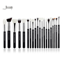 Jessup Black Silver Professional Makeup Brushes Set Make Up Brush Tools Kit Foundation Powder Brushes Natural