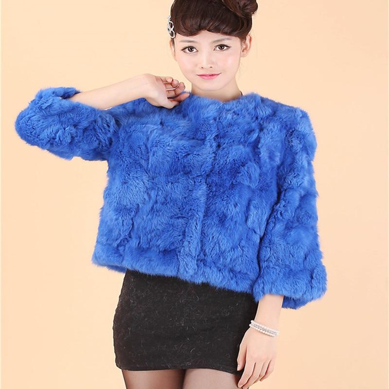 2018 New Rabbit Hair Short Fur Dámské tričko se sedmi rukávy Rabbit Fur Coat. True Rex Fur Coat Jacket Doprava zdarma