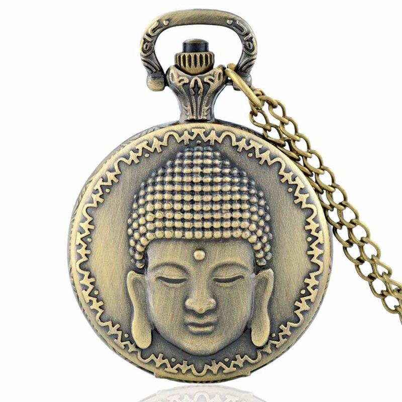 Retro Vintage Bronze Buddha Pocket Watch Vedhæng Mænd ure med - Lommeur - Foto 1